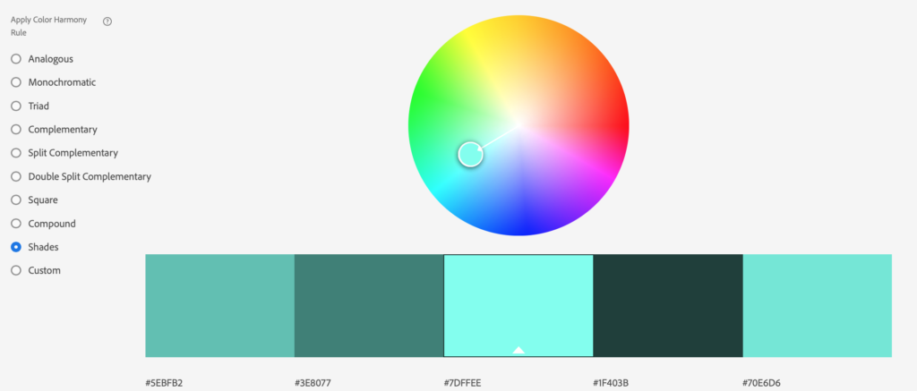color wheel with shades of aqua
