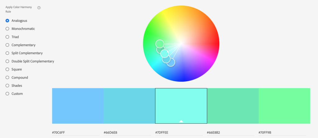 This color wheel example shows an analogous color scheme.