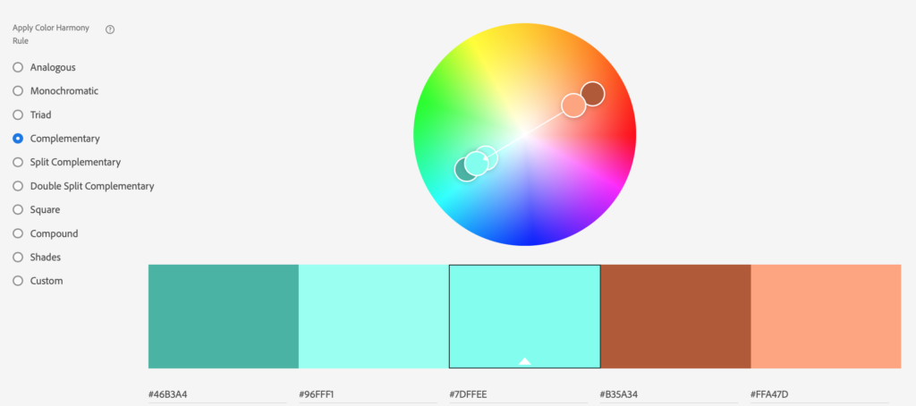 This color wheel shows a complementary color scheme
