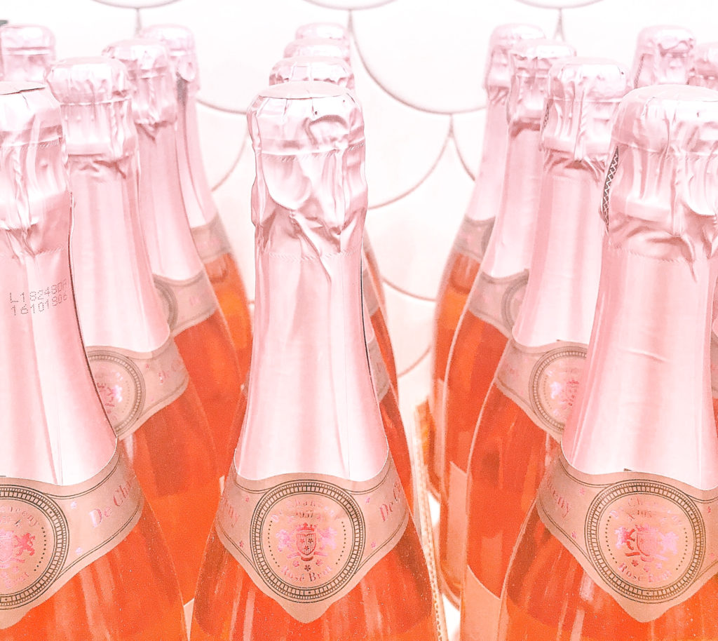 salmon pink wedding color photo of pink champagne