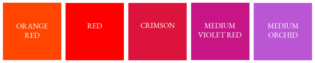 analogous color scheme crimson