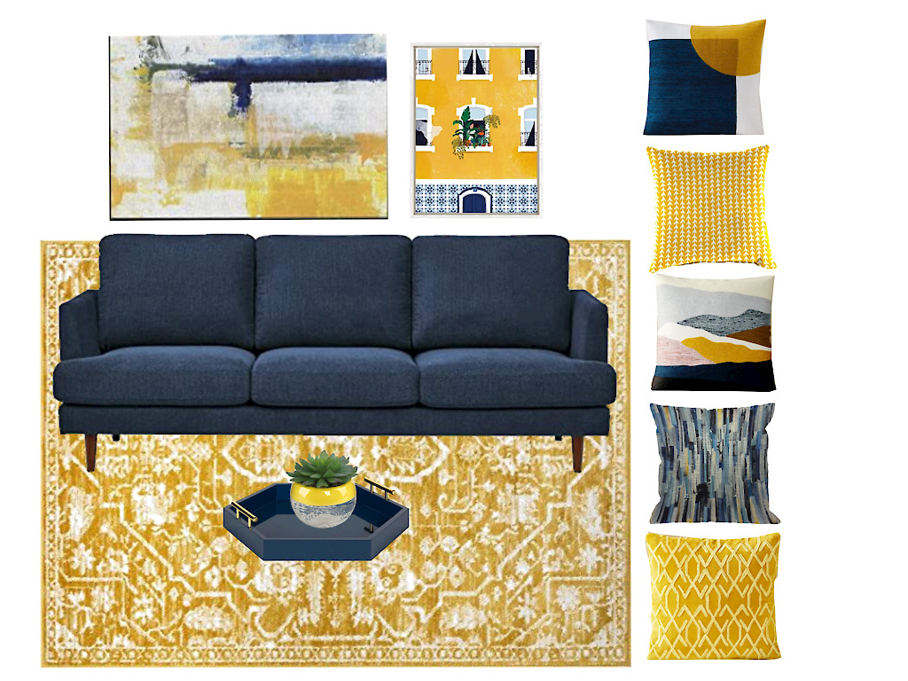 yellow and navy decor