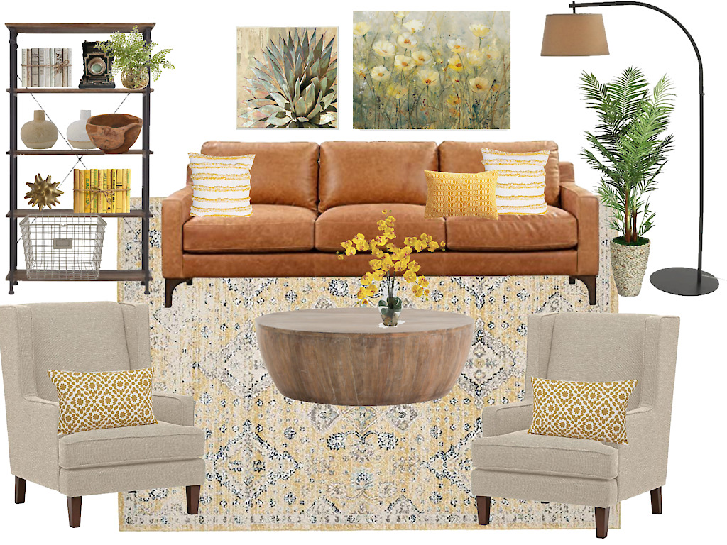 Living room decor yellow with just an accent of earthy goldenrod