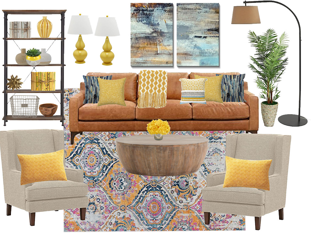 Adding the contrasting blue color to living room decor yellow really makes it pop.