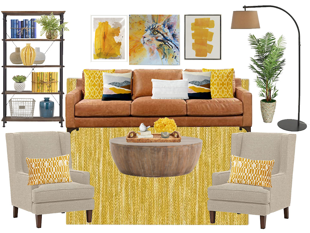 This living room decor yellow is vibrant and intense, but still beautiful.
