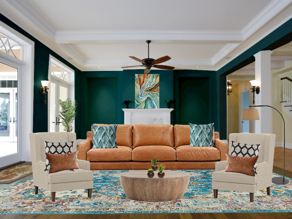 teal living room, teal walls, teal and brown color scheme, teal blue paint