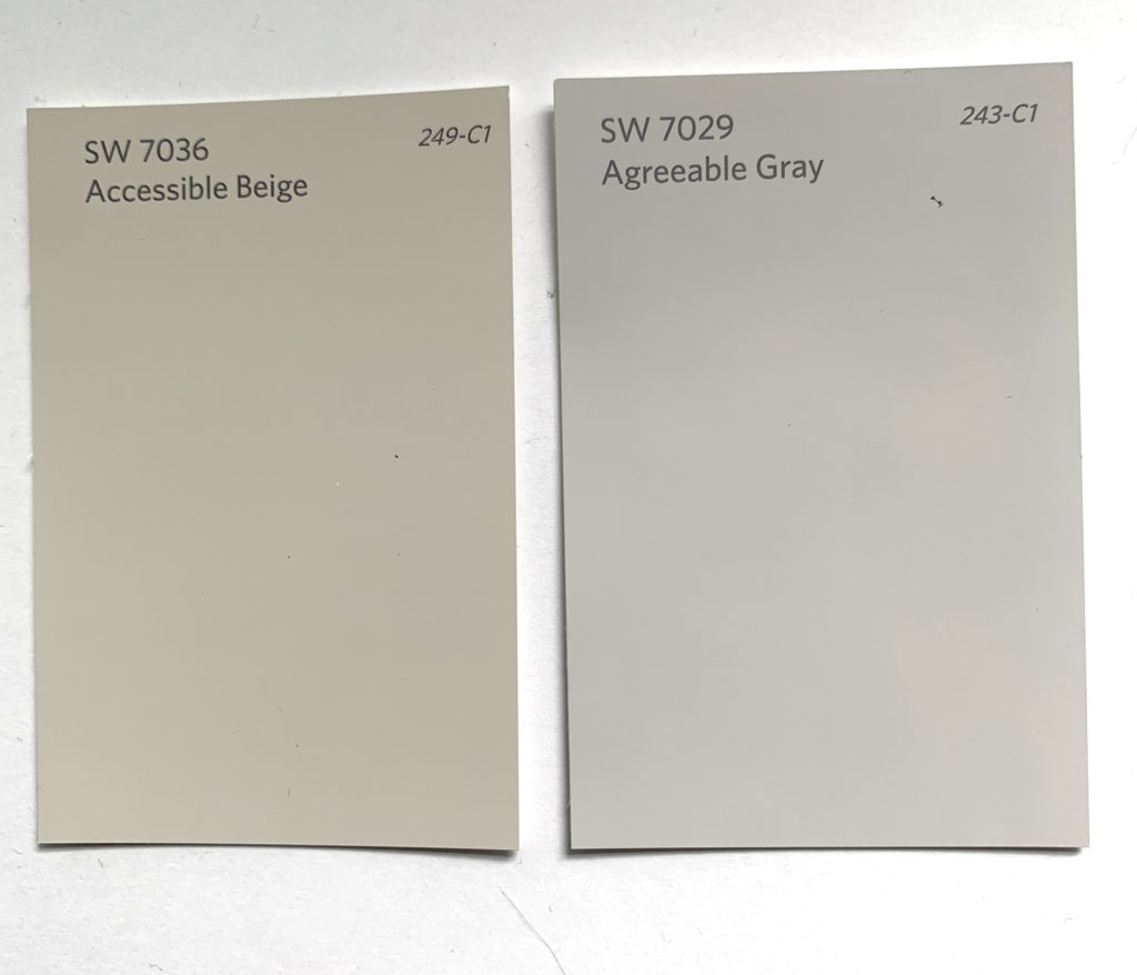 accessible beige, agreeable gray, beige paint colors, neutral paint colors, SW 7036, SW 7029, agreeable gray vs accessible beige