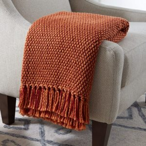 throw blanket orange, mid century modern