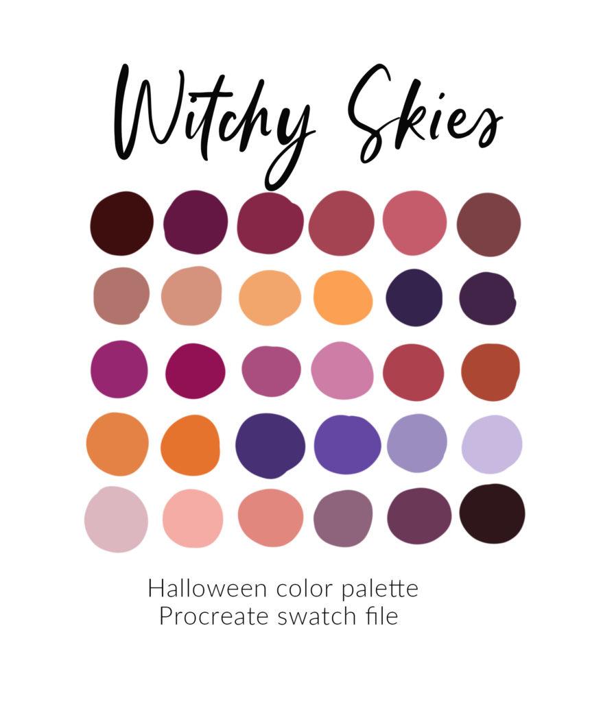 Purple procreate color palette