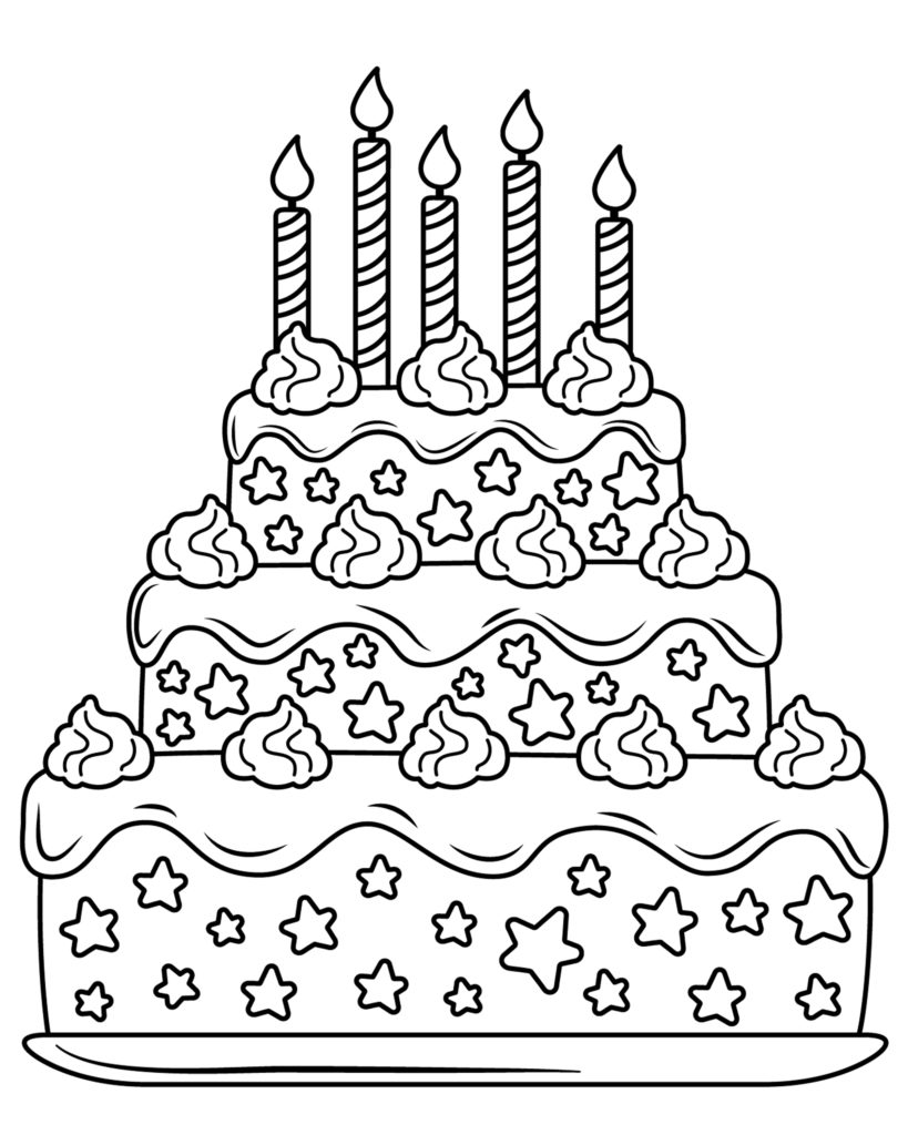 Birthday cake coloring page. The cake has 5 candles for fifth birthday free download
