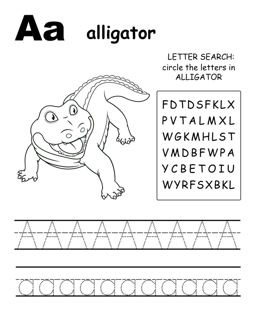 Alphabet coloring pages A is for alligator, trace the letter A, and find the letters in alligator, letter A coloring page