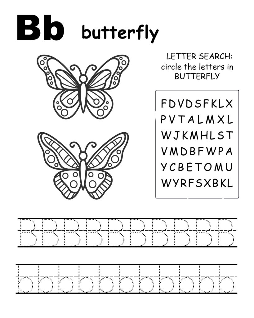 Alphabet coloring pages B is for butterfly, trace the letter B, and find the letters in alligator, letter B coloring page
