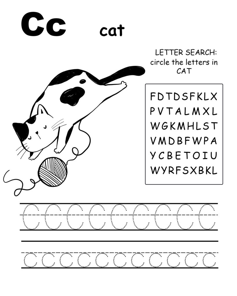 Alphabet coloring pages C is for cat, trace the letter C, and find the letters in cat, letter C coloring page