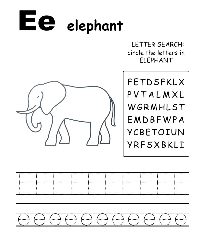 Alphabet coloring pages E is for elephant, trace the letter E, and find the letters in elephant, letter E coloring page