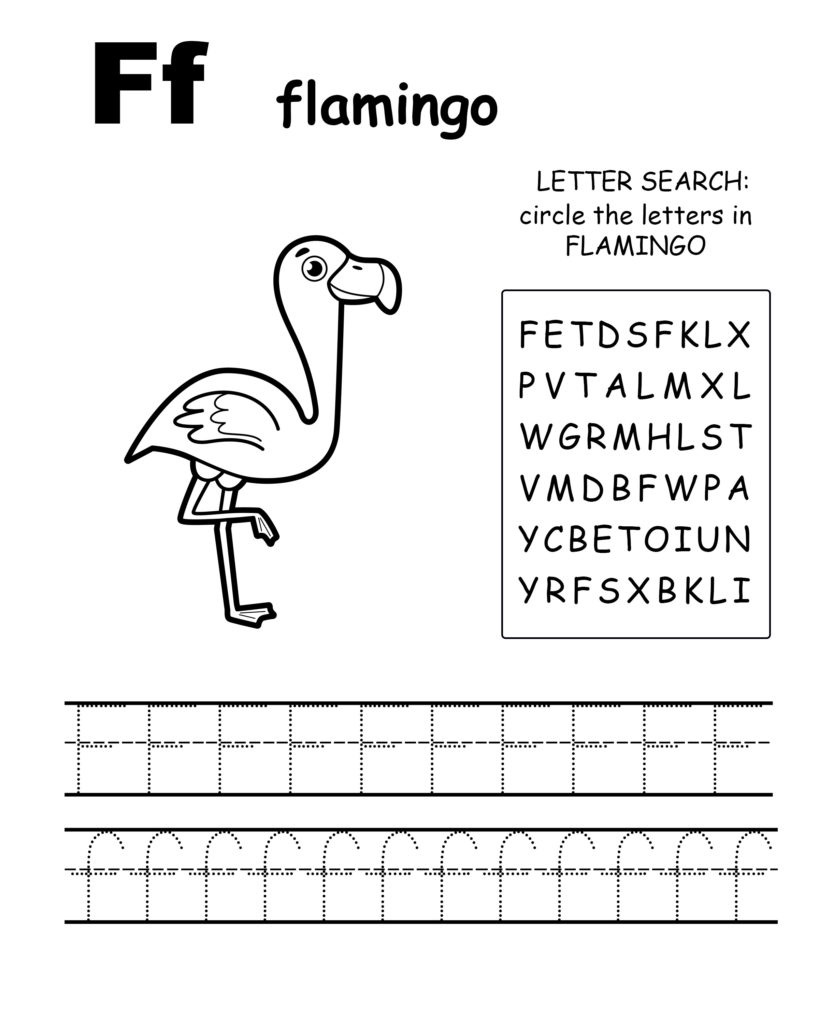 Alphabet coloring pages F is for flamingo, trace the letter F, and find the letters in flamingo, letter F coloring page