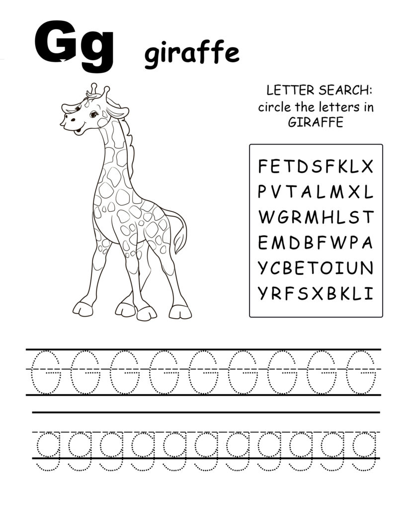 Alphabet coloring pages G is for giraffe, trace the letter G, and find the letters in giraffe, letter G coloring page