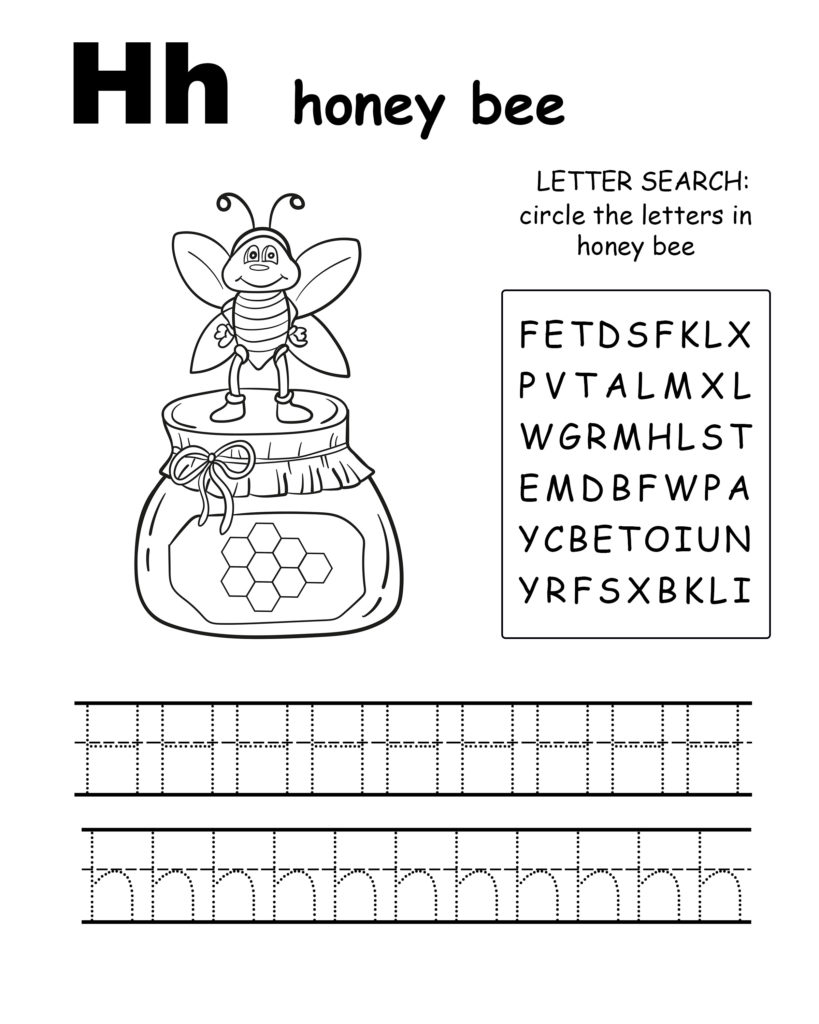 Alphabet coloring pages H is for honey bee, trace the letter H, and find the letters in honey bee, letter H coloring page