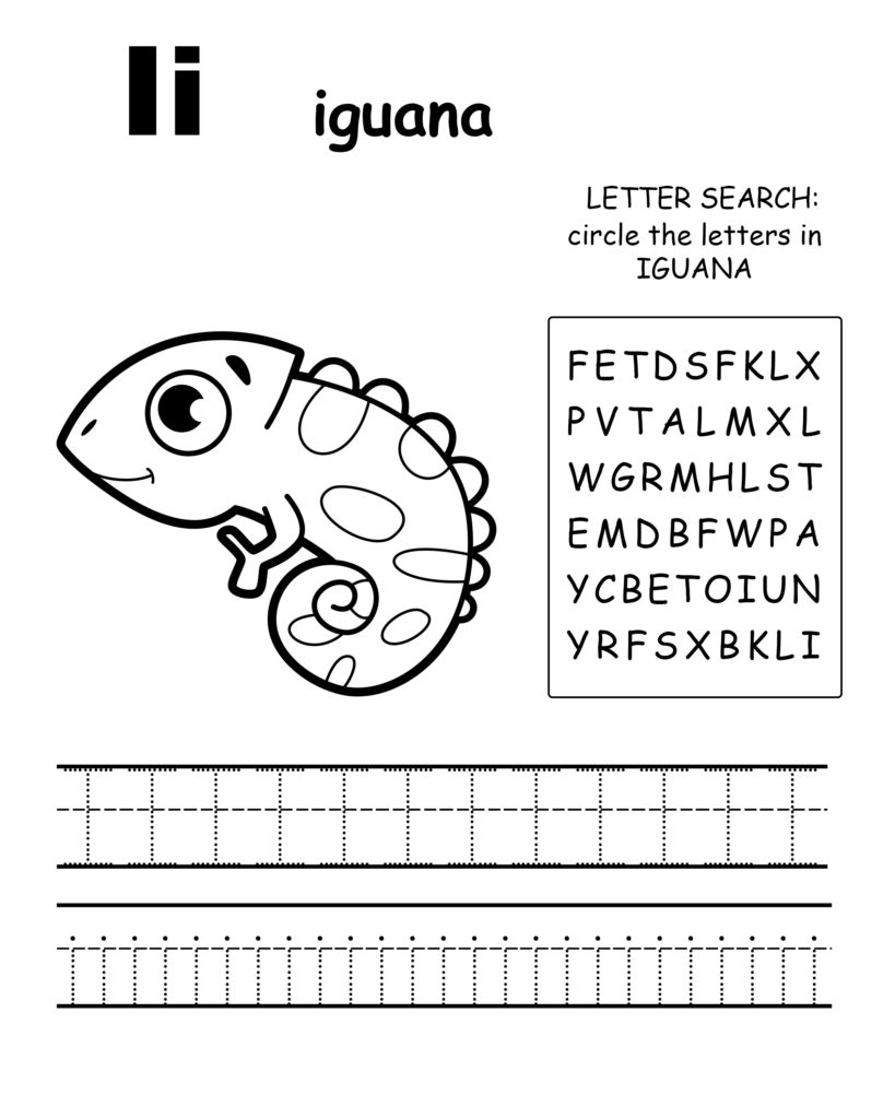 Alphabet coloring pages I is for iguana, trace the letter I, and find the letters in iguana, letter I coloring page