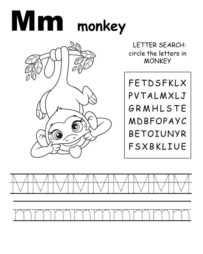 Alphabet coloring pages M is for monkey, trace the letter M, and find the letters in monkey, letter M coloring page