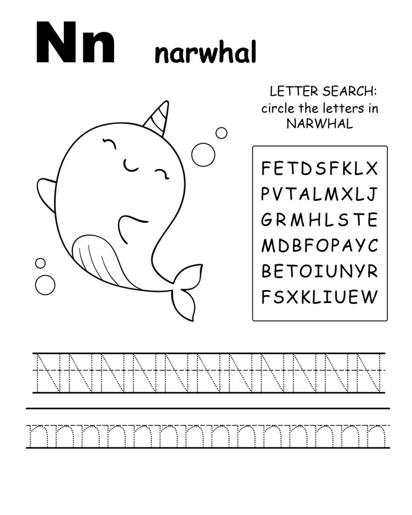 Alphabet coloring pages N is for narwhal, trace the letter N, and find the letters in narwhal, letter N coloring page