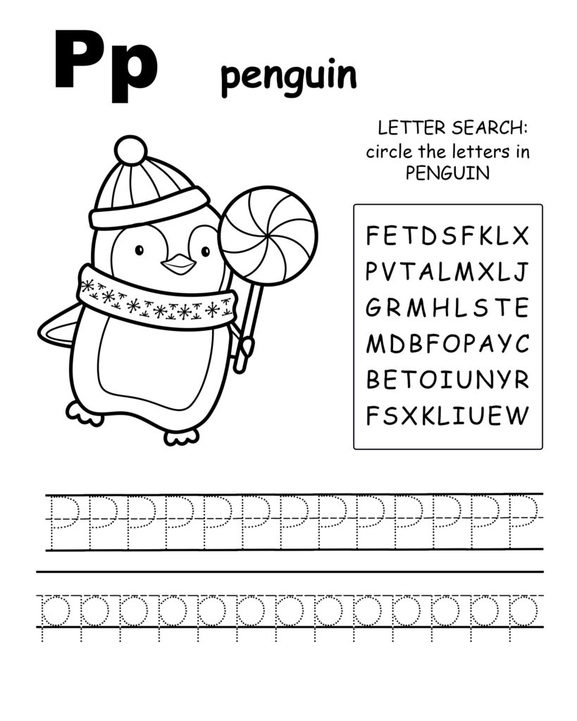 Alphabet coloring pages P is for quail, trace the letter Q, and find the letters in quail, letter Q  coloring page