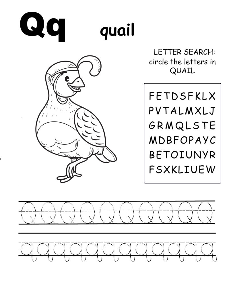 Alphabet coloring pages Q is for octopus, trace the letter P, and find the letters in penguin, letter P coloring page