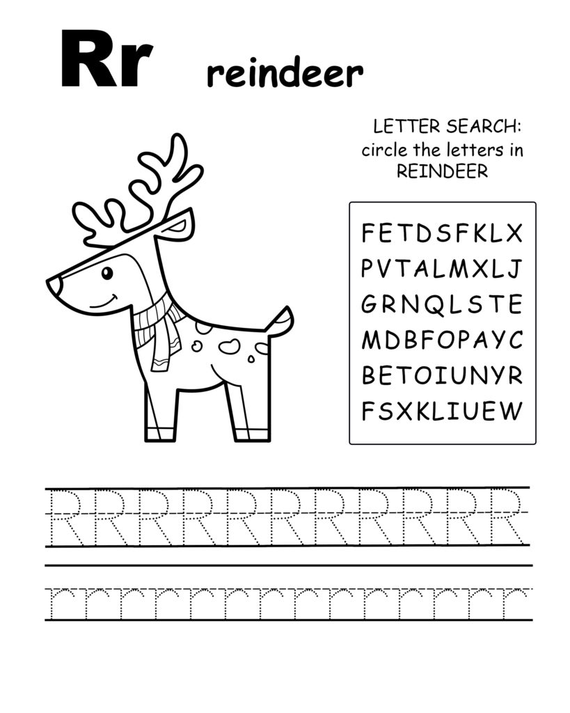 Alphabet coloring pages R is for reindeer, trace the letter R, and find the letters in reindeer, letter R  coloring page