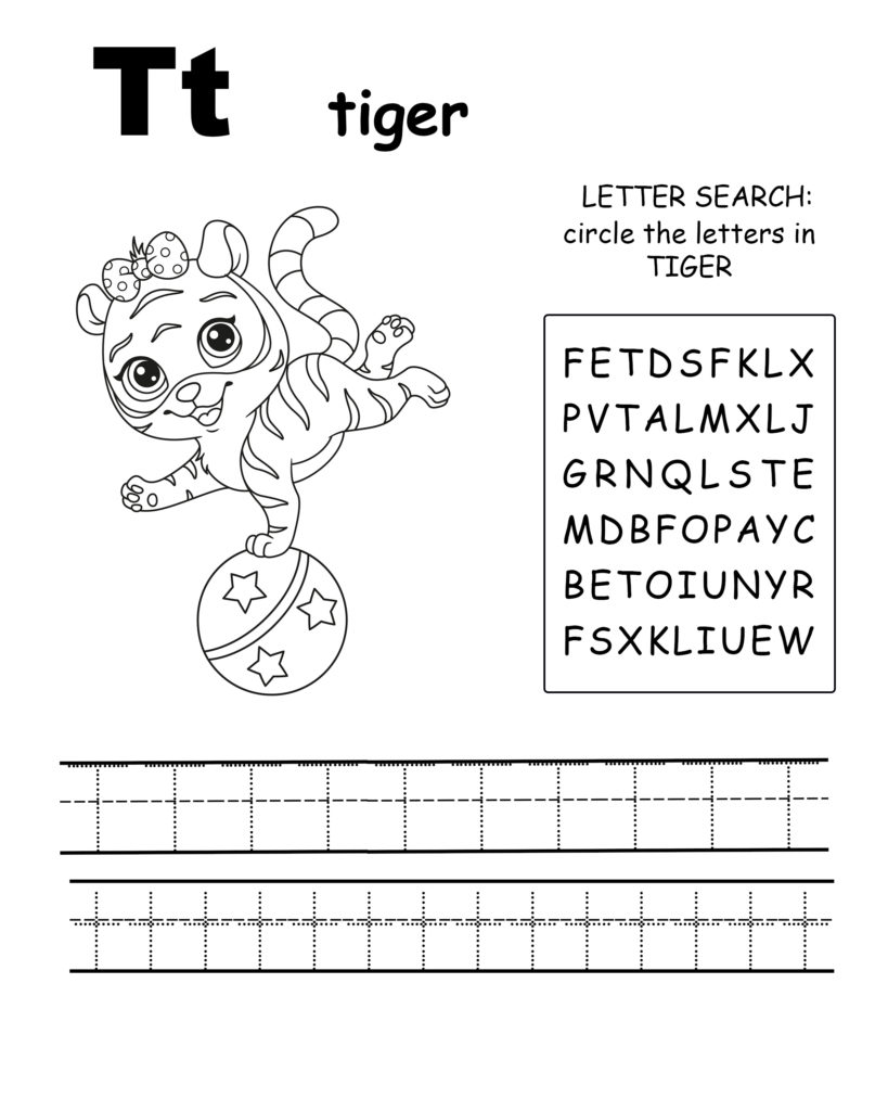 Alphabet coloring page letter T is for tiger, Trace the letter T, find the letters in the word tiger, letter T coloring page