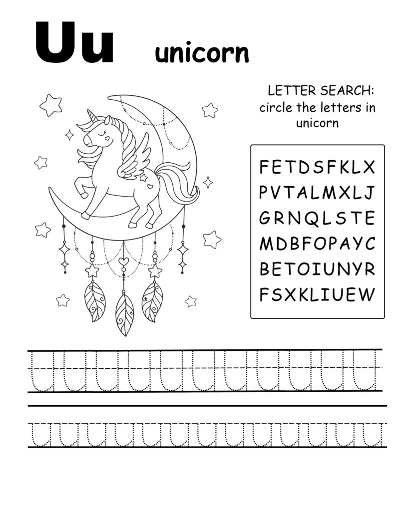 Alphabet coloring page letter U is for unicorn, Trace the letter U, find the letters in the word unicorn, letter U coloring page