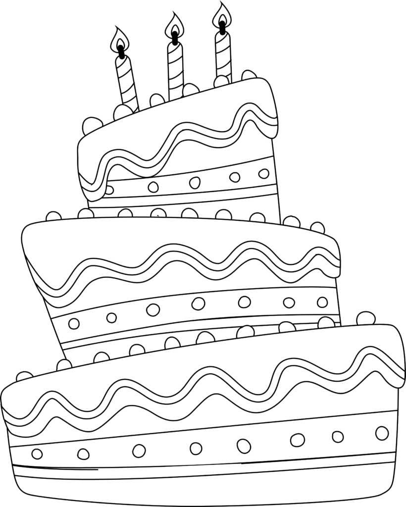 Birthday cake drawing. Outline of a three tiered cake with 3 candles
