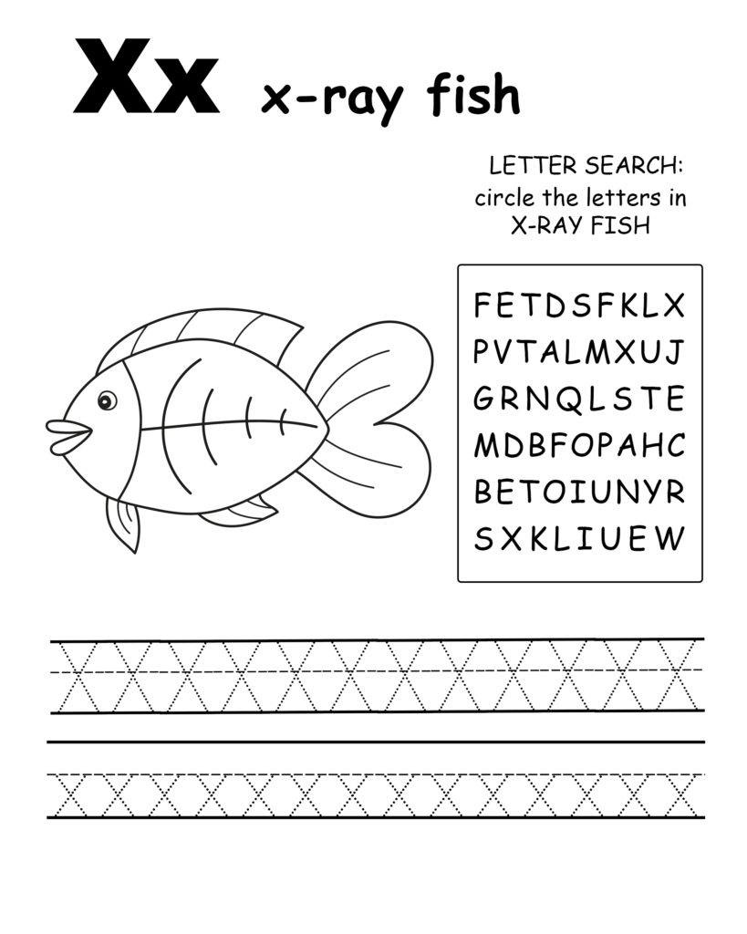 Alphabet coloring page letter X is for X-ray fish, Trace the letter X, find the letters in the word X-ray fish, letter X coloring page