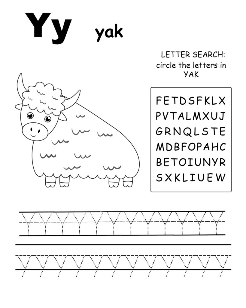 Alphabet coloring page letter Z is for zebra, Trace the letter Z, find the letters in the word zebra, letter Z coloring page