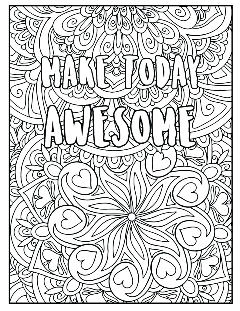 Make today awesome coloring page