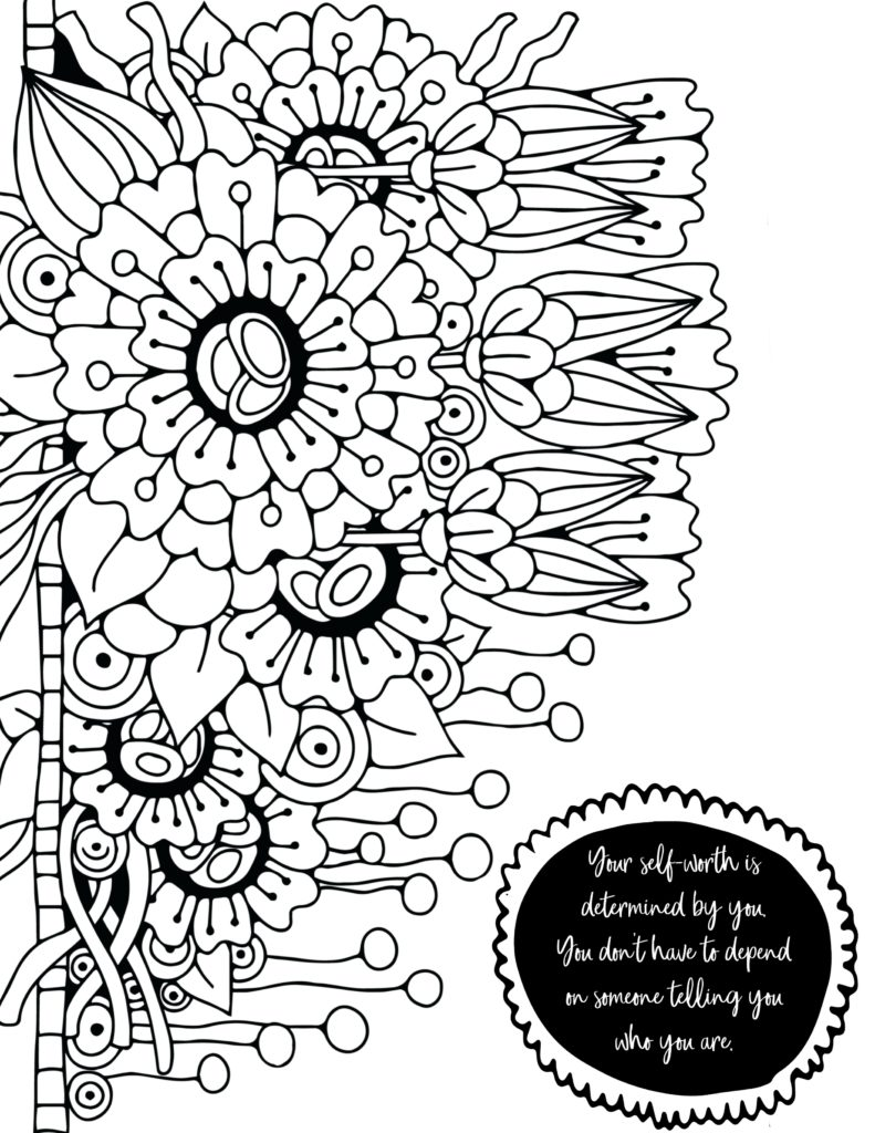 Self worth coloring page